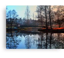 A bridge, the river and reflections | waterscape photography Canvas Print