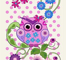 Spring Owl, Flowers & Polka dots case by walstraasart