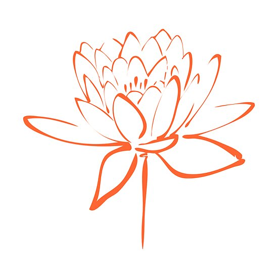 Quot lotus flower calligraphy orange by makanahele redbubble