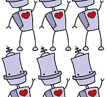 Robot Love Pattern  by Stacey Roman