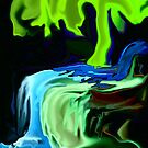 Neon Tree and Waterfall abstract by MaeBelle