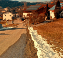 Country road in winter village scenery | landscape photography Sticker