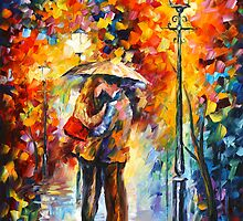 KISS UNDER THE RAIN by Leonid  Afremov
