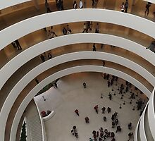 Looking Down at the Guggenheim Museum, Frank Lloyd Wright, Architect, New York City  by lenspiro