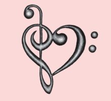 Hand Drawn Treble & Bass Clef Music Note Heart Symbol Kids Clothes
