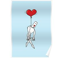 Man Hanged by a Heart Balloon Poster