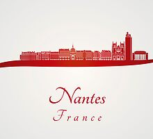Nantes skyline in red by Pablo Romero