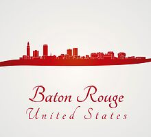 Baton Rouge skyline in red by Pablo Romero