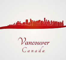 Vancouver skyline in red by Pablo Romero