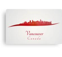 Vancouver skyline in red Metal Print
