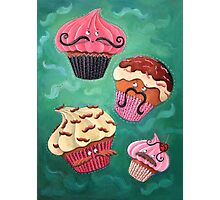 Flying Mustached Cupcakes Photographic Print
