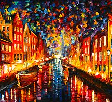 NIGHT COPENHAGEN  by Leonid  Afremov