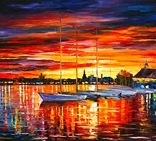 HELSINKI — SAILBOATS AT YACHT CLUB by Leonid  Afremov