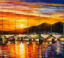 ITALY, NAPLES HARBOR by Leonid  Afremov