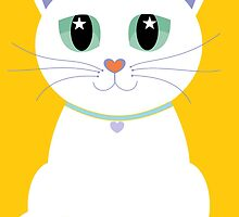 Only One White Kitty With Collar by Jean Gregory  Evans