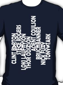 The men of the Avengers - white - larger text T-Shirt