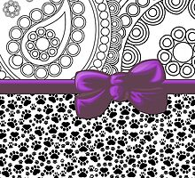 Dog Paws, Traces, Paisley - Ribbon and Bow - White Black Purple by sitnica