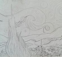 Drawing of Starry Night by Vincent Van Gogh by Carrie Brummer