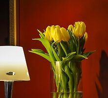 Tulips, a lamp and a red room by Stevie B