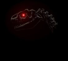 Dinosaur skull with glowing red eye by lucid-reality