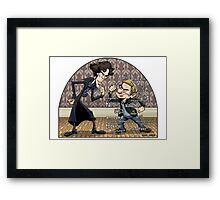 Sherlock analyzes Watson Framed Print