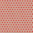 Red kitsch flower pattern  by Vicki Field