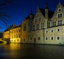 Bruge at Night by English Landscape Prints