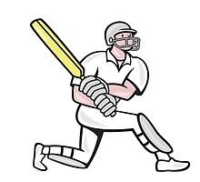 Cricket Player Batsman Batting Kneel Cartoon by patrimonio