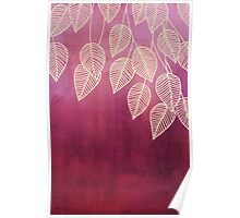 Magenta Garden - watercolor & ink leaves Poster