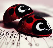 Cute Ladybugs Cuddle Sweet Red Love Phototgraph by ARTificiaLondon