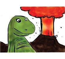 T-rex chilling in front of an angry volcano. Photographic Print