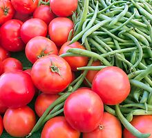 Farm Fresh Tomatoes and Beans by Ram Vasudev