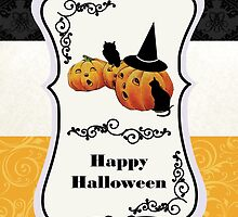 Vintage Jack O' Lanterns on Tripartite Background - Happy Halloween Card by RumourHasIt