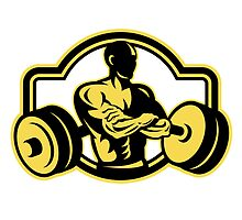 Weightlifter Arms Crossed Barbell Retro by patrimonio