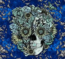 Royal Constant, floral butterfly skull by KristyPatterson