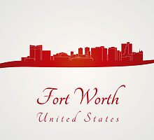 Fort Worth skyline in red by Pablo Romero