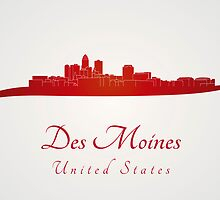 Des Moines skyline in red by Pablo Romero