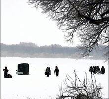 Ice Fishing on Whitmore Lake 1 by Karen Stevens