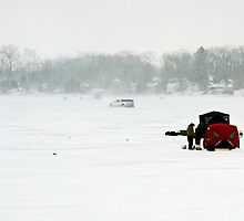 Winter Day Ice Fishing by Karen Stevens
