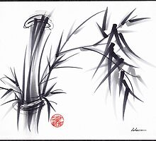 GRAY MORNING -GRAY MORNING - Original Sumi-e Ink Brush Painting Chinese Japanese Bamboo by Rebecca Rees