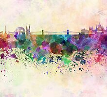 Budapest skyline in watercolor background by Pablo Romero