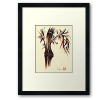 REFLECT -  Sumi-e ink brush pen Zen bamboo painting Framed Print