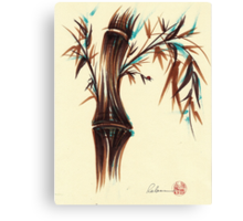 REFLECT -  Sumi-e ink brush pen Zen bamboo painting Canvas Print