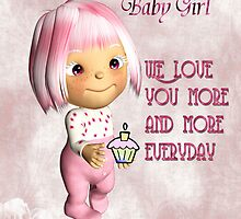Baby Girl First Birthday Card by Vickie Emms