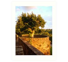 Fortress Tree At Sunset In Le Dorat Art Print