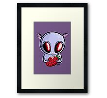 cute hamster with a strawberry Framed Print