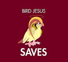 Twitch Plays Pokemon: Bird Jesus Saves! iPhone/Galaxy Case - Maroon by Twitch Plays Pokemon