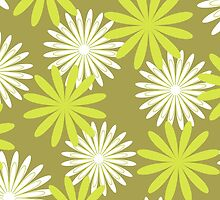 White green floral pattern by cycreation