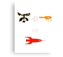 Raccoon + Laser gun = Rocket Canvas Print
