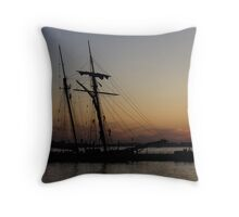 Climbing the Rigging - Sailors Silhouettes at the Hudson River Waterfront, New York City Throw Pillow